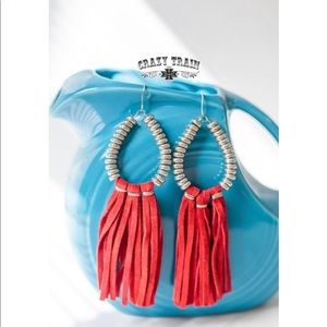 Red Rio Grande Earrings. Crazy Train.